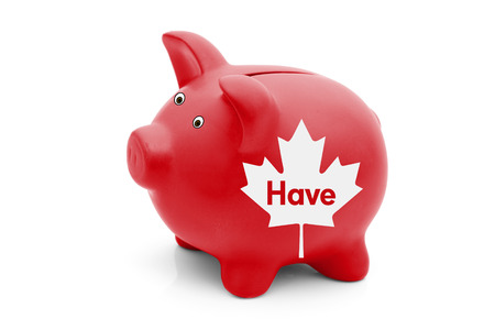 canadian maple leaf: Being a Have Province in Canada, A red piggy bank with a white Canadian maple leaf flag and text Have isolated on white