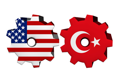 allies: The United States of America and Turkey working together, Two cogwheels with a flag of the United States and Turkey isolated on white