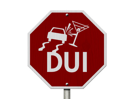 Stop Drinking and Driving Road Sign, Red and White Stop Sign with words DUI and car and drink symbols isolated on white Stock Photo