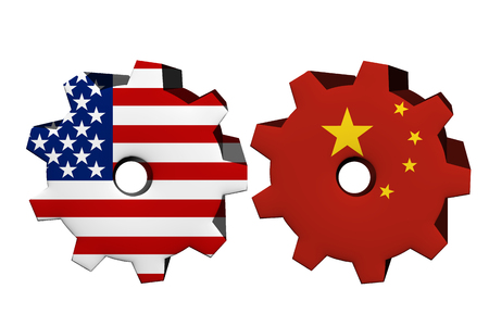 overwhite: The United States of America and China working together, Two cogwheels with a flag of the United States and China isolated on white Stock Photo