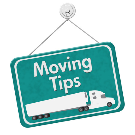 Moving Tips Sign, A teal hanging sign with text Moving Tips with a truck isolated over white