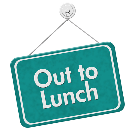 Out to Lunch Sign, A teal hanging sign with text Out to Lunch isolated over white Фото со стока
