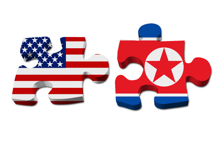 stated: Relationship between the United Stated and North Korea, Two pieces of a puzzle with the American flag on one and the North Korean flag on the other isolated over white