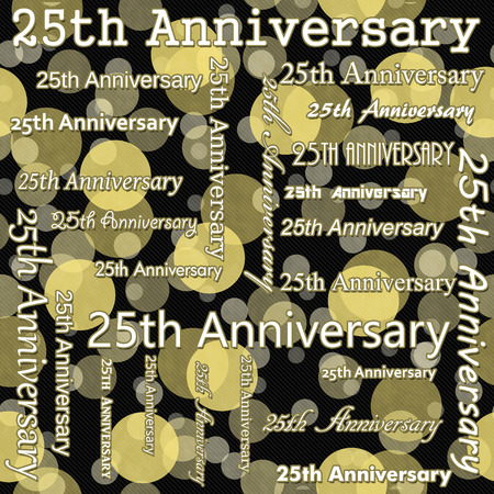 25th: 25th Anniversary Design with Yellow and Black Polka Dot Tile Pattern Repeat Background that is seamless and repeats Stock Photo