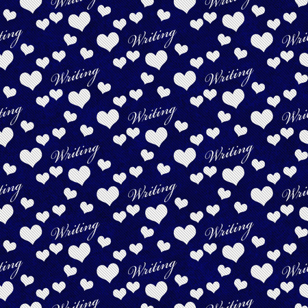 navy blue background: Navy Blue and White I Love Writing Tile Pattern Repeat Background that is seamless and repeats