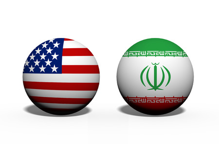 The United States of America and Iran working together, Two globes with a flag of the United States and Iran isolated on white Imagens