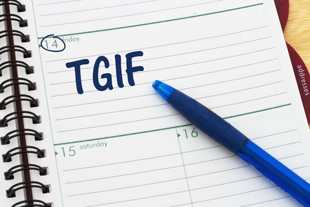 todo: Happy it is Friday, a day planner with blue pen with text TGIF