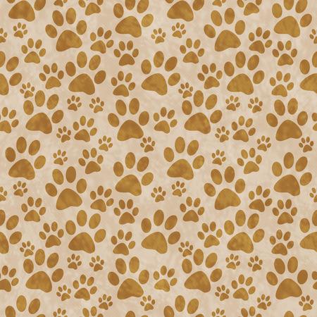 Brown Doggy Paw Print Tile Motif Répétez fond qui est transparente et répète Banque d'images