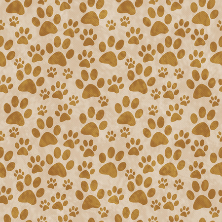 paws: Brown Doggy Paw Print Tile Pattern Repeat Background that is seamless and repeats