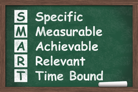 Writing your SMART Goals, The SMART Goals written on a chalkboard with chalk Banque d'images