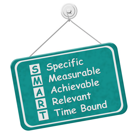 measurable: Writing your SMART Goals, A teal hanging sign with text listing SMART Goals isolated over white