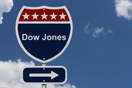 dow: American Dow Jones Highway Road Sign, Red, White and Blue American Highway Sign with words Dow Jones with sky background