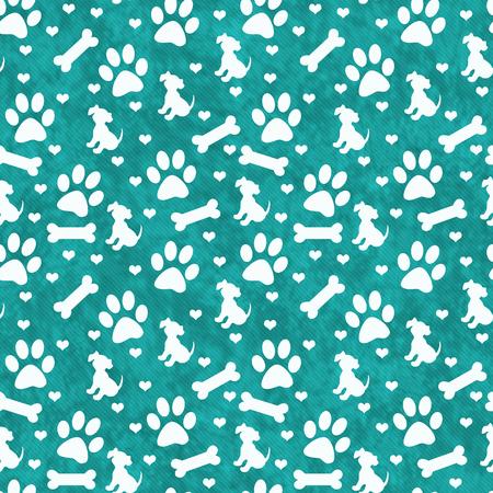 huellas de perro: El trullo y el blanco del perro de la pata, perrito, hueso y corazones azulejo modelo de la repetición de fondo que es perfecta y repeticiones Foto de archivo