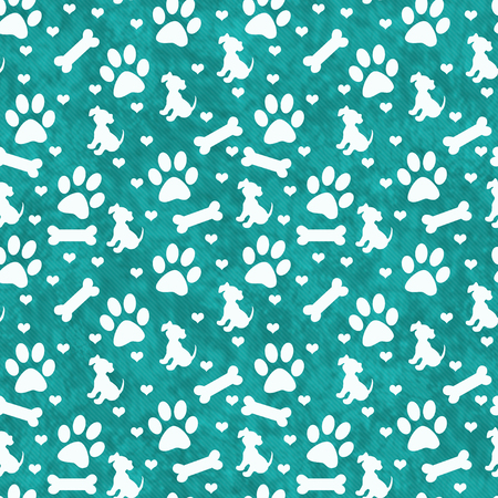 Teal and White Dog Paw Prints, Puppy, Bone and Hearts Tile Pattern Repeat Background that is seamless and repeats