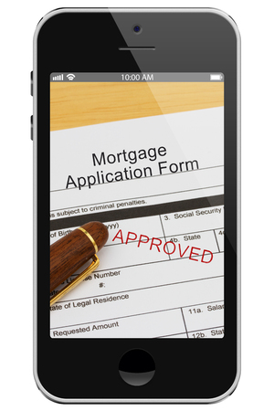 mortgage application: Applying for your mortgage on the Internet Approved, Mortgage Application Form with Pen on a cell phone display