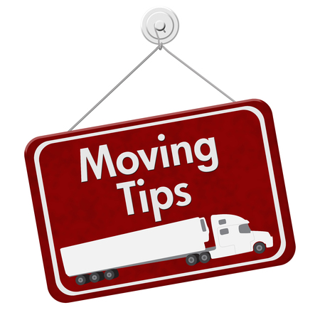 Moving Tips Sign, A red hanging sign with text Moving Tips with a truck isolated over white Reklamní fotografie
