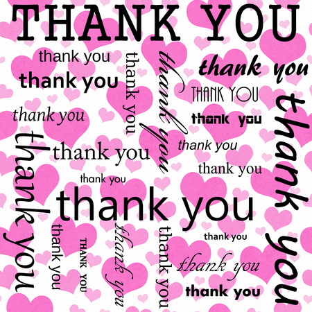 Thank You Design with Pink and White Hearts Tile Pattern Repeat Background that is seamless and repeats Stock fotó