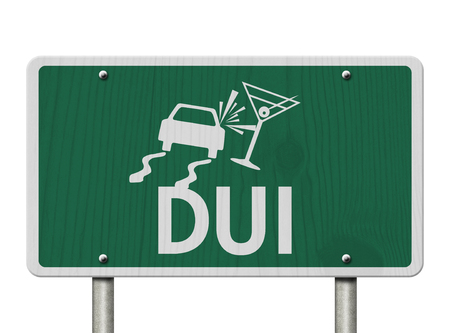 under the influence: Driving Under the Influence Road Sign,  A green Road Sign with a car crashing into a martini glass isolated over white