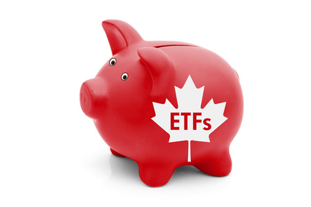 canadian coin: Exchange-traded Funds in Canada, A red piggy bank with a white Canadian maple leaf flag and text ETFs isolated on white