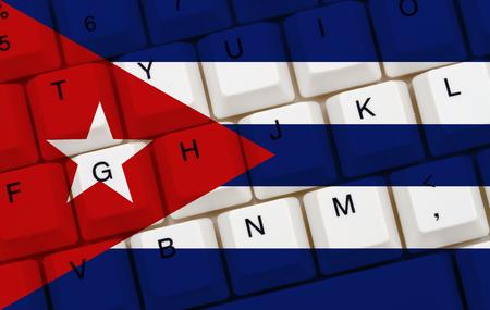 bandera de cuba: Acceso a Internet restringido en Cuba, La bandera cubana en un teclado de ordenador