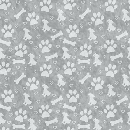 huellas de perro: Gray pata del perro imprime, del perrito, hueso y de los corazones del modelo del azulejo de repetición de fondo que se repite sin fisuras y
