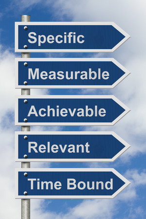 measurable: Writing your SMART Goals, Five Blue Road Sign with text listing the SMART Goals with sky background