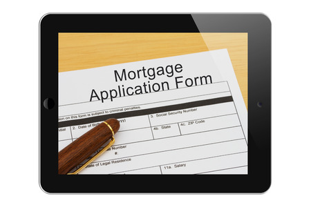 mortgage application: Applying for your mortgage on the Internet, Mortgage Application Form with Pen on a tablet display