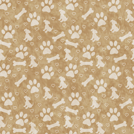 paws: Brown Dog Paw Prints, Puppy, Bone and Hearts Tile Pattern Repeat Background that is seamless and repeats