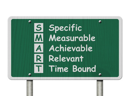 overwhite: Writing your SMART Goals,  A green Road Sign with the SMART Goals listed isolated on a white background Stock Photo