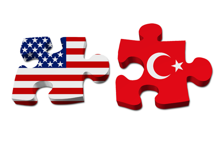 overwhite: Relationship between the United Stated and Turkey, Two pieces of a puzzle with the American flag on one and the Turkey flag on the other isolated over white