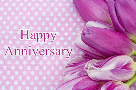 Happy Anniversary Greeting, Some tulips with pink polka dots and text Happy  Anniversary