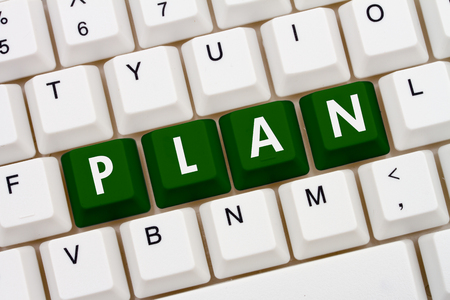 computers online: Creating your Plan, A close-up of a keyboard with green highlighted text Plan