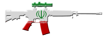 overwhite: Fighting and Conflict in Iran, An outline of an assault rifle with the flag of Iran isolated on white Stock Photo