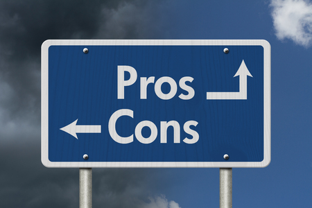 cons: Difference between the Pros and the Cons, Blue Road Sign with text Pros and Cons with bright and stormy sky background