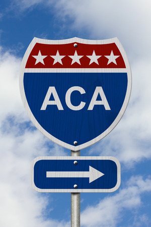 obama care: Way to get the Affordable Care Act Road Sign, Red, White and Blue American Highway Sign with words ACA with sky background Stock Photo
