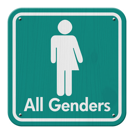 Transgender Sign, Teal and White Sign with a symbol with text All Genders