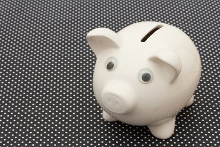 Saving Money, A white piggy bank black and white background