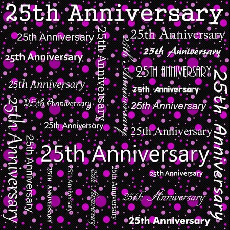 25th: 25th Anniversary Design with Pink and Black Polka Dot Tile Pattern Repeat Background that is seamless and repeats Stock Photo