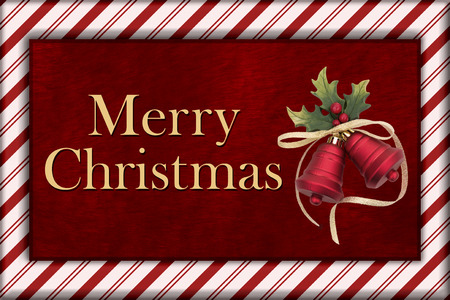 christmas bells: Merry Christmas Greeting, Red Plush Fur, Christmas Bells Christmas and Candy Cane Border with text Merry Christmas Stock Photo