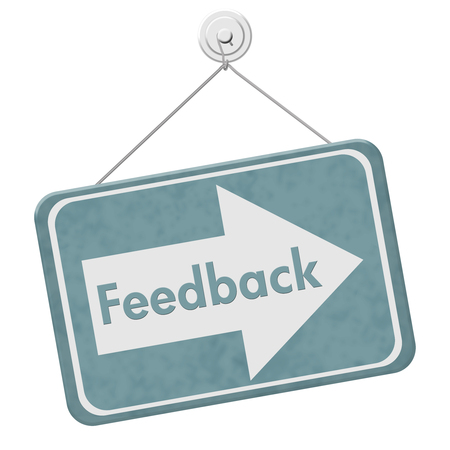 Getting Feedback for your business, A blue hanging sign with text Feedback isolated over white Stock Photo
