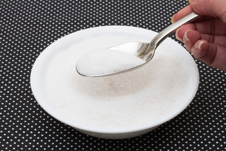 sugar bowl: Eating to much sugar, White bowl filled with sugar with a spoon on a black and white polka dot background
