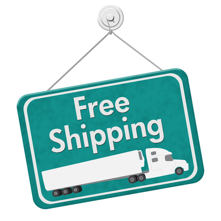 Free Shipping Sign, A teal hanging sign with text Free Shipping with a truck isolated over white Фото со стока