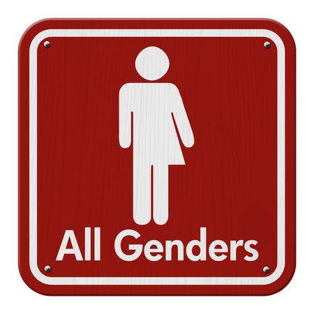transexual: Transg�nero muestra, rojo y negro se�al de tr�fico con un s�mbolo transg�nero con el texto Todos los G�neros