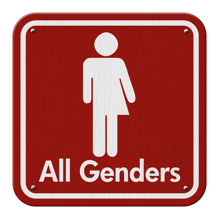 transgender: Transgender Sign, Red and White Sign with a transgender symbol with text All Genders Stock Photo