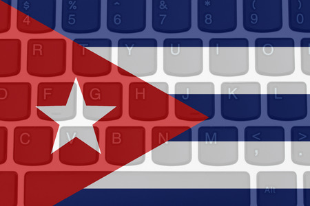 access restricted: Restricted Internet access in Cuba, The Cuban flag on a  computer keyboard