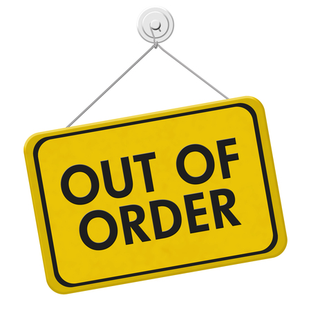 out of order: Out of Order Sign,  A yellow and black sign with the words Out of Order isolated on a white background
