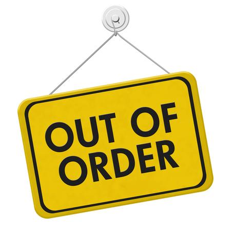 Out of Order Sign, Ein gelbes und schwarzes Schild mit den Worten Out of Order isoliert auf weißem Hintergrund