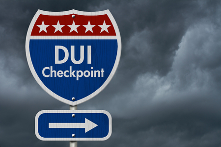 dui: American DUI Checkpoint Highway Road Sign, Red, White and Blue American Highway Sign with words DUI Checkpoint with stormy sky background