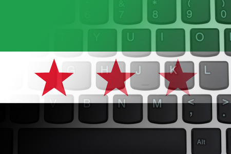 syrian: Restricted Internet access in Syria, The South Syrian flag on a  computer keyboard