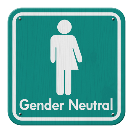 Transgender Sign, Teal and White Sign with a symbol with text Gender Neutral Imagens